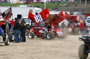 Shaffer pulls his CH Motorsports no.83 into his pitstall at Eldora Speedway