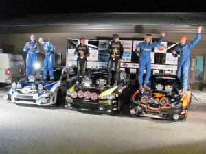 The top three teams celebrate following an exciting 2013 Sno*Drift Rally!
