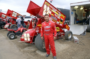 Randy Hannagan strikes a pose next to his Dennis Yokam no.22H machine.