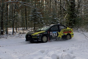 Antoine L'Estage and his navigator Nathalie Richard en route to their  2013 Sno*Drift win.