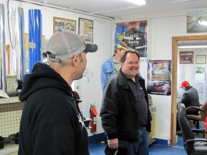Brian Brindley (no.4B Modified) and Bill Long share some laughs