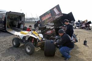 On a chilly opening night at Attica, Nate and the rest of the Dussel team make the final preparations for a great night of racing.