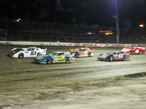 Brian Shirley leads the C-Main around for the drop of the green flag.