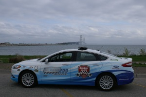"""The Pure Michigan 400 Pace Car escorted the """"Blue Deuce"""" across the bridge before making an appearance at Bridge View Park"""