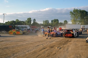 The CMS Pit area is always busy with full fields of cars in each division.