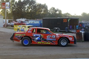 Brenten DeYoung pilots the no.7D into place for heat races at Crystal Motor Speedway