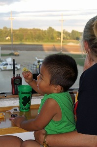 Birthday boy 3-year-old Eli Fellows cheers on the Street-Stocks at Crystal Motor Speedway.