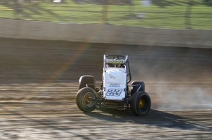 Tyler Courtney slides his no.23c USAC Sprint Car through turn one during the 23rd annual 4-Crown Nationals at Eldora