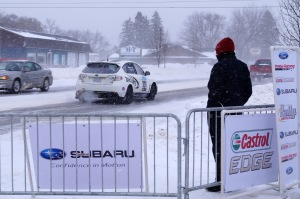 Pure Michigan - Pure Racing:  Jeffrey Reamer & Jeremy Jankowske drive their no.331 into traffic on their way to stage no.1 on a cold Friday at Sno*Drift.