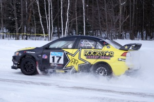 2013 Sno*Drift champion Antoine L'Estage and his co-driver Marshall Clarke navigated through stage 14 with ease.
