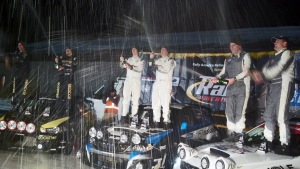 L'Estage/Clarke, Higgins/Drew, and O'Sullivan/Putnam all celebrate with a champagne spray at the conclusion of Sno*Drift 2014