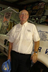 Allan E. Brown strikes a pose inside the National Dirt Late Model Hall of Fame on the grounds of Florence Speedway.